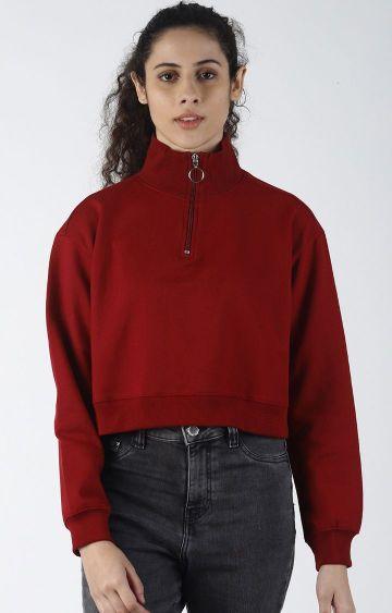 Blue Saint | Maroon Solid Sweatshirt