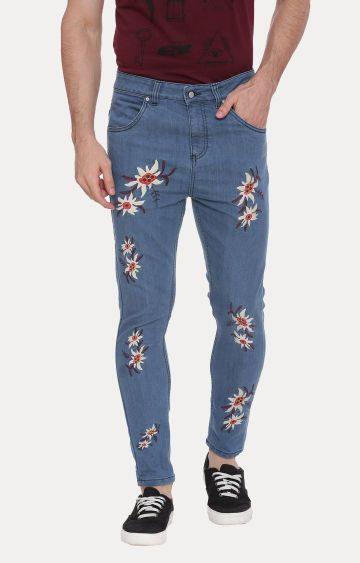 Blue Saint | Blue Printed Straight Jeans