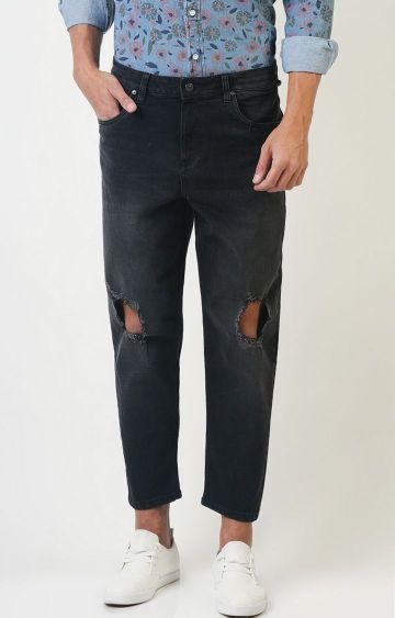 Blue Saint   Black Solid Cropped Jeans