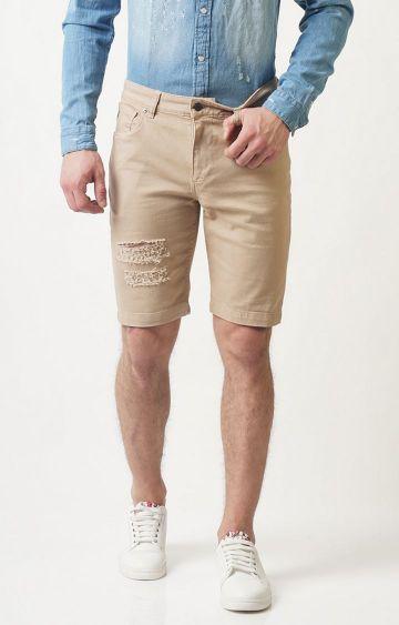 Blue Saint   Beige Solid Shorts