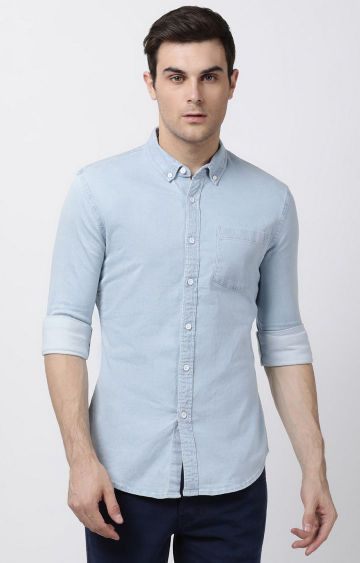 Blue Saint | Light Blue Solid Casual Shirt