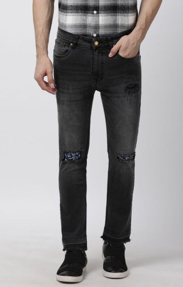 Blue Saint | Dark Grey Solid Straight Jeans