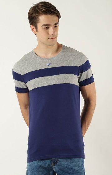 Blue Saint | Grey and Blue Colourblock T-Shirt