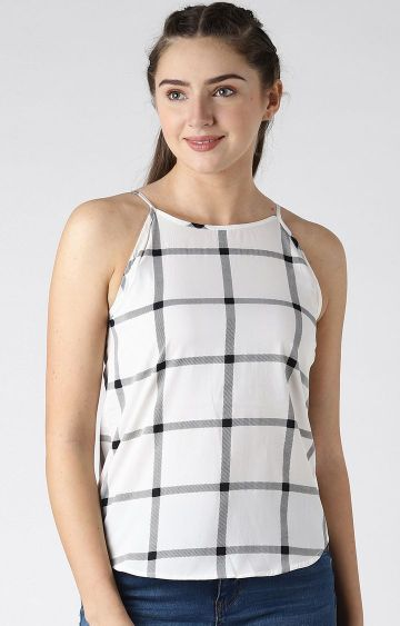 Blue Saint | White Checked Strappy Top