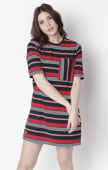 Cult Fiction | Multicoloured Striped Boyfriend Fit Shift Dress