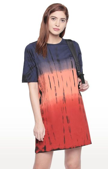 Cult Fiction | Orange Printed Boyfriend Fit Shift Dress