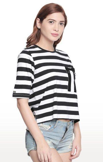 Cult Fiction | Black Striped T-Shirt