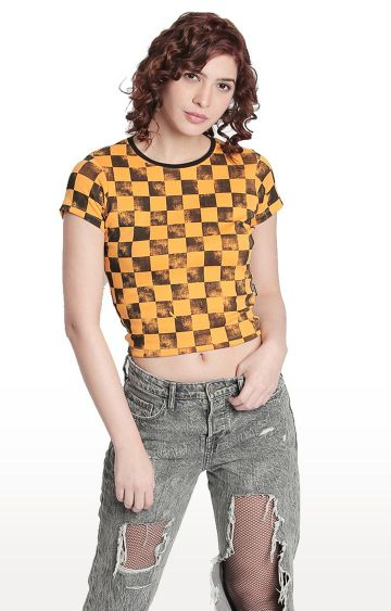 Cult Fiction | Yellow Checked T-Shirt