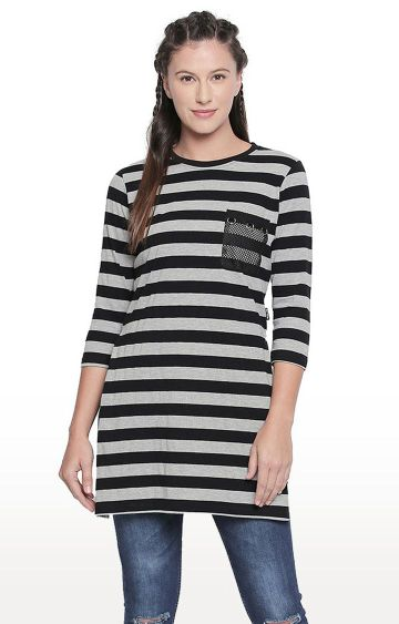 Cult Fiction | Black Striped Tunic