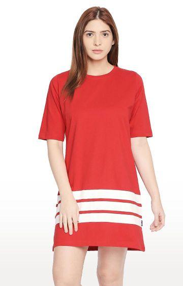 Cult Fiction | Red Striped Boyfriend Fit Shift Dress