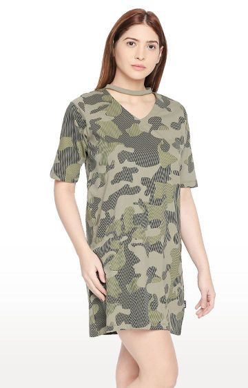 Cult Fiction | Olive Military Camouflage Boyfriend Fit Shift Dress