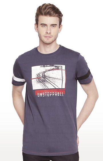 Cult Fiction | Blue Printed T-Shirt