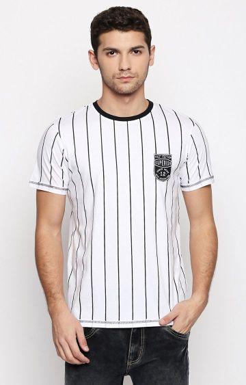 Cult Fiction | White Striped T-Shirt