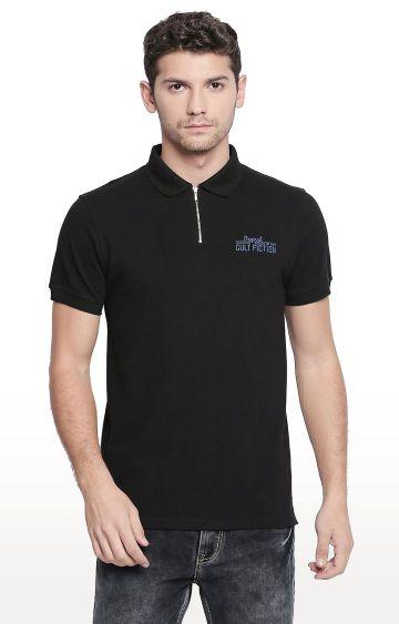 Cult Fiction | Black Printed Polo T-Shirt