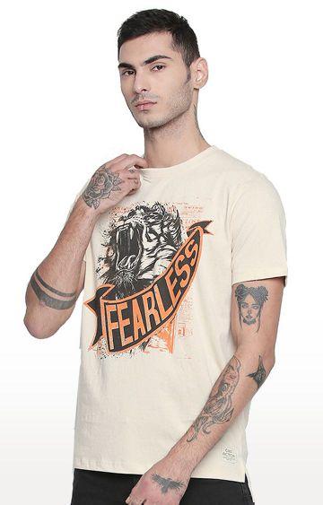 Cult Fiction | Beige Printed T-Shirt
