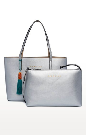 REPLAY   Silver and Sand Reversible Tote with Purse