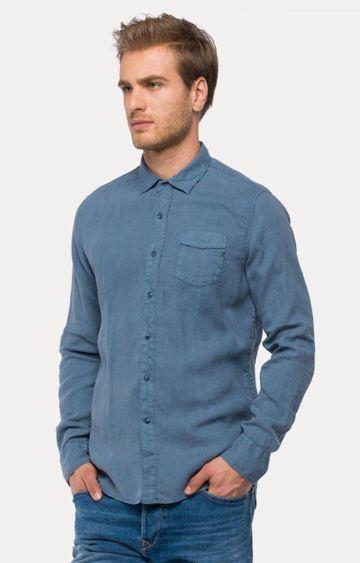REPLAY | Blue Melange Casual Shirt