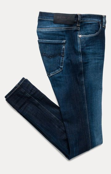 REPLAY | Dark Blue Solid Straight Jeans