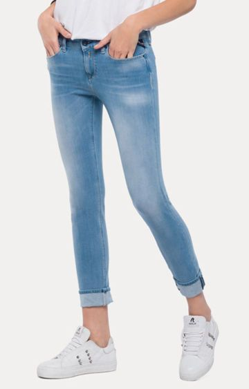 REPLAY | Light Blue Solid Cropped Jeans