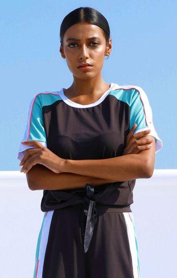Myriad   Black and Turquoise Colourblock T-Shirt