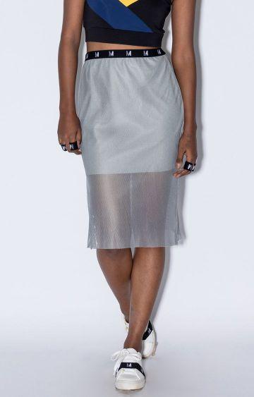 Myriad   Grey Solid Straight Skirt