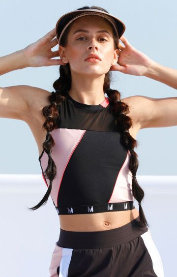Myriad   Black and Pink Crop Top