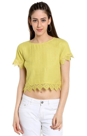 109F | Yellow Checked Crop Top