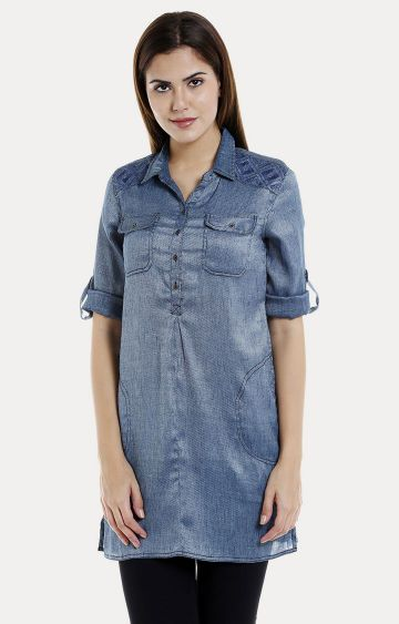109F | Blue Solid Front 2 Pocket Tunic