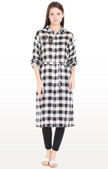 109F | Black Checked Shirt Dress