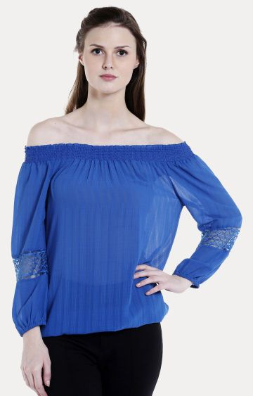 109F | Blue Striped Off Shoulder Top