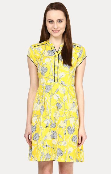109F | Yellow Floral Shift Dress