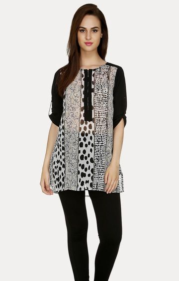 109F | Black and White Printed Tunic