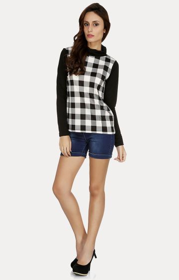 109F   Black and White Checked Top