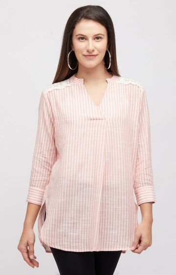 109F | Coral Striped Tunic