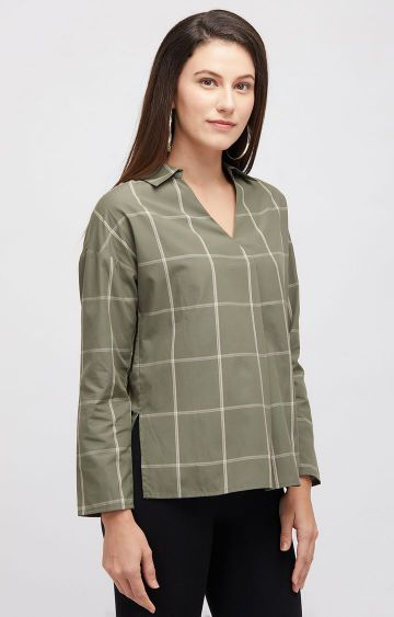 109F | Green Checked Top