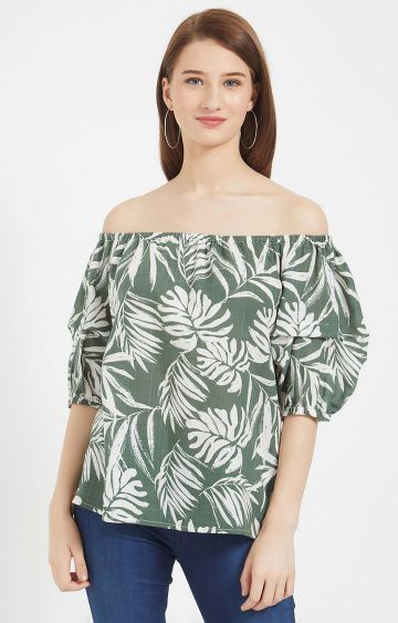 109F | Green Printed Off Shoulder Top