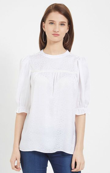109F | White Printed Top with Pearl Detailing