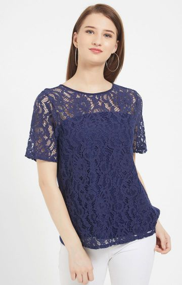 109F   Navy Embroidered Top