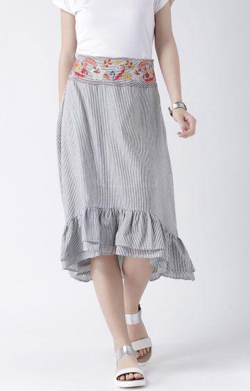 109F | Grey Striped Asymmetric Skirt