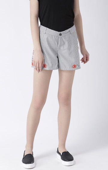 109F | Grey Striped Shorts