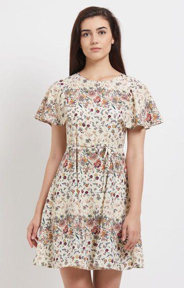 109F   Beige Floral Short Sleeved Dress