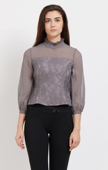 109F | Grey Embroidered Crop Top