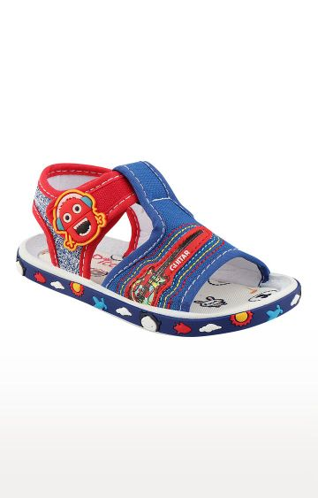 Rex   Royal Blue and Red Slip On Sandals