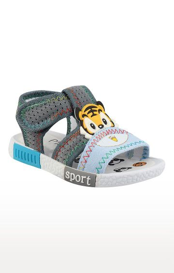 Rex | Grey and Sky Blue Slip On Sandals