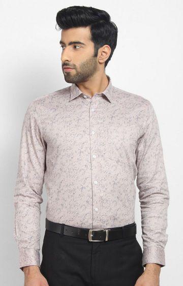 Cape Canary | Peach Printed Formal Shirt
