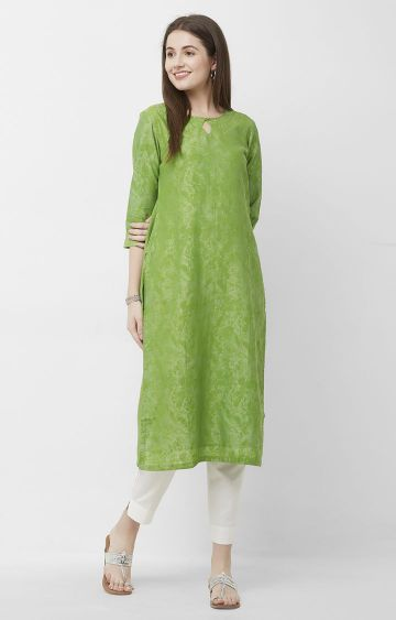 CELEBRATION | Green Printed Chanderi Silk Kurta
