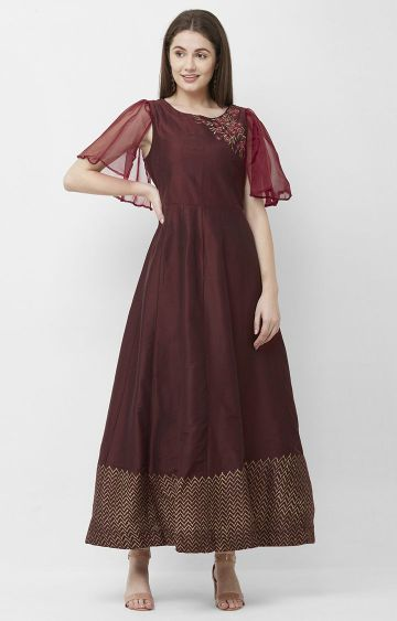 CELEBRATION | Maroon Embroidered Cotton Anarkali Kurta
