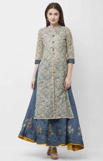 CELEBRATION | Grey Chanderi Silk Kurta Skirt Set