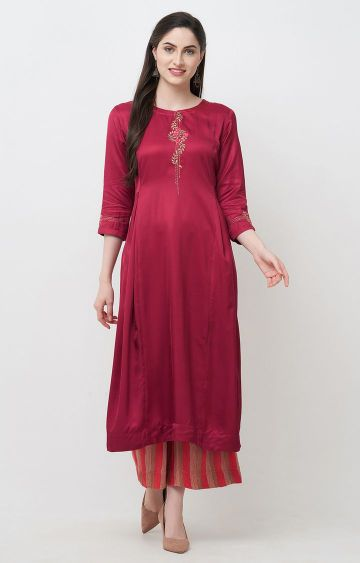 CELEBRATION | Maroon Embroidered Satin Anarkali