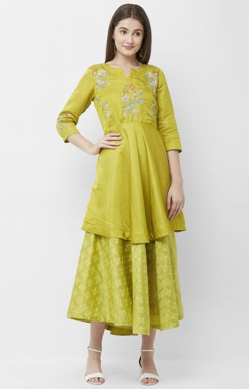 CELEBRATION | Green Embroidered Silk Kurta